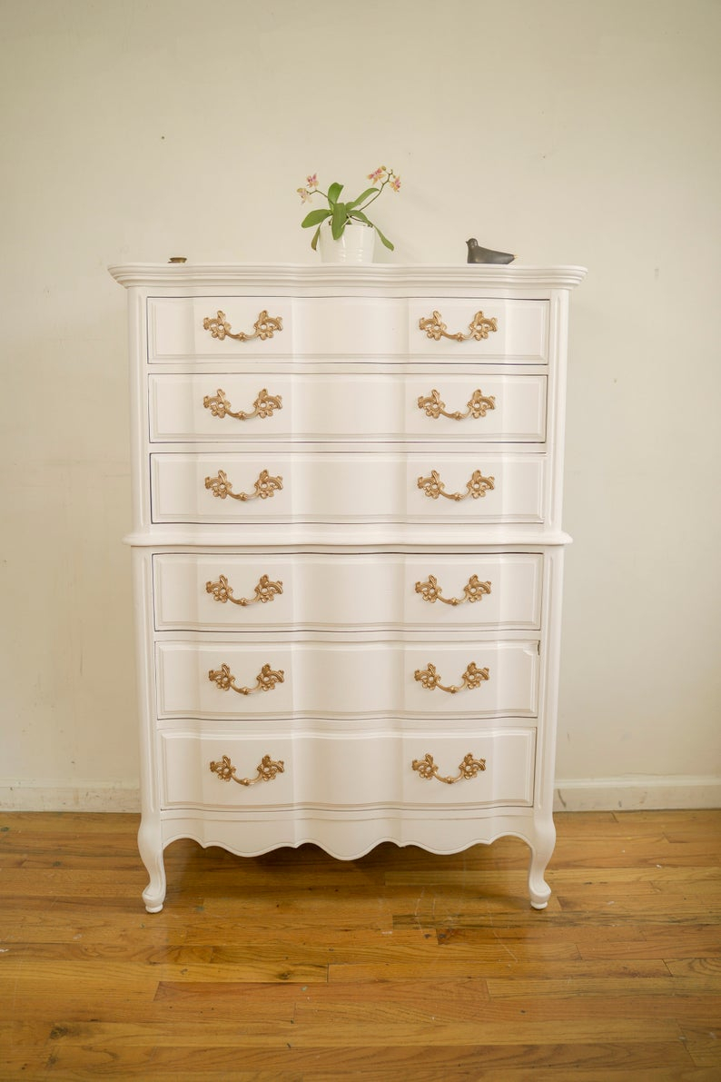 French Provincial Dresser Chest Of Drawers White And Gold Etsy