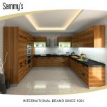 Functional Nature Wood Veneer Home Cabinets With Stainless Steel