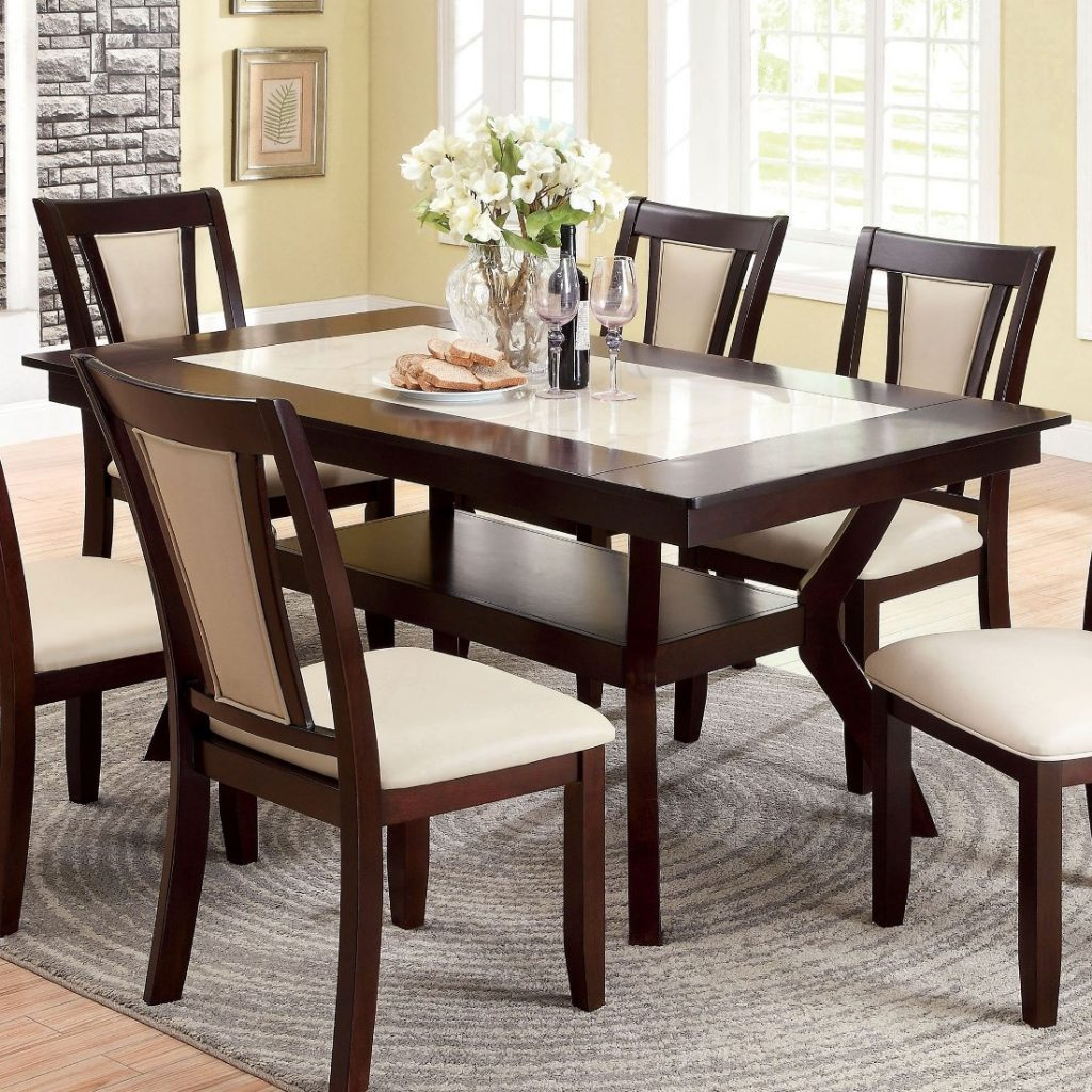 Furniture Of America Brent Dining Room Set In Dark Cherry Ivory