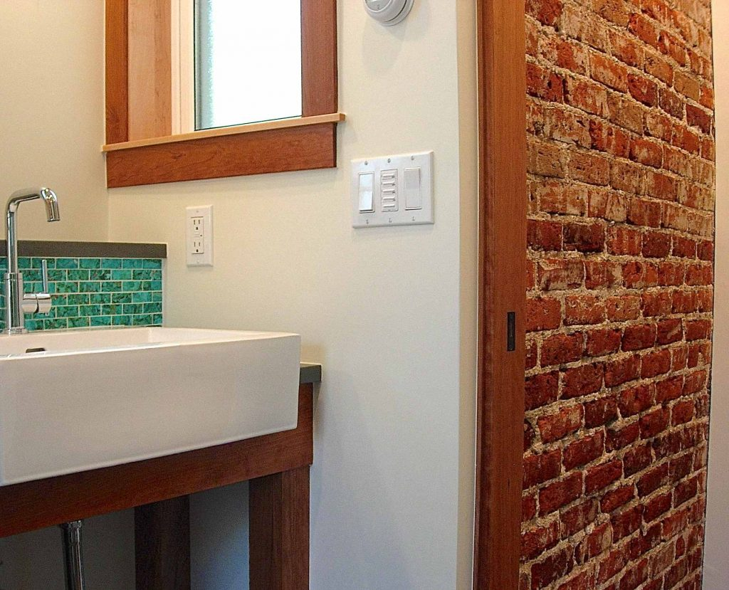 Furniture Pretty Brick Wall Bathroom Ideas Accent Tiles Effect