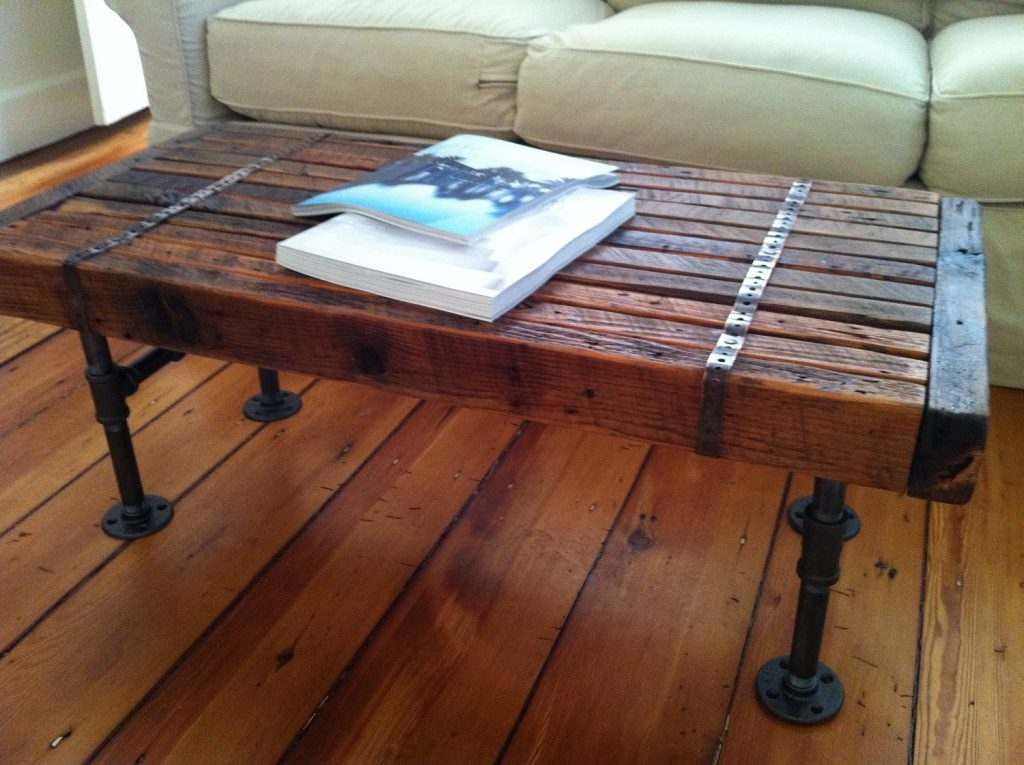 Furniture Rustic Reclaimed Wood Coffee Table With Black Metal Legs