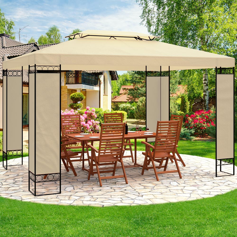 Garden Gazebo 3x4m Marquee Bbq Party Tent Canopy Outdoor Patio Steel