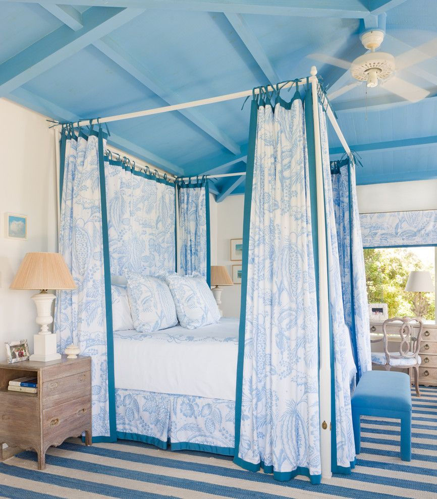 Gary Mcbournie Tropical Bedroom Blue Canopy Bed Ceiling Decorating
