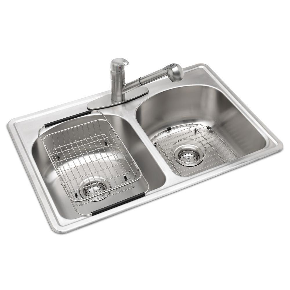 Glacier Bay All In One Drop In Stainless Steel 33 In 3 Hole Double Bowl Kitchen Sink