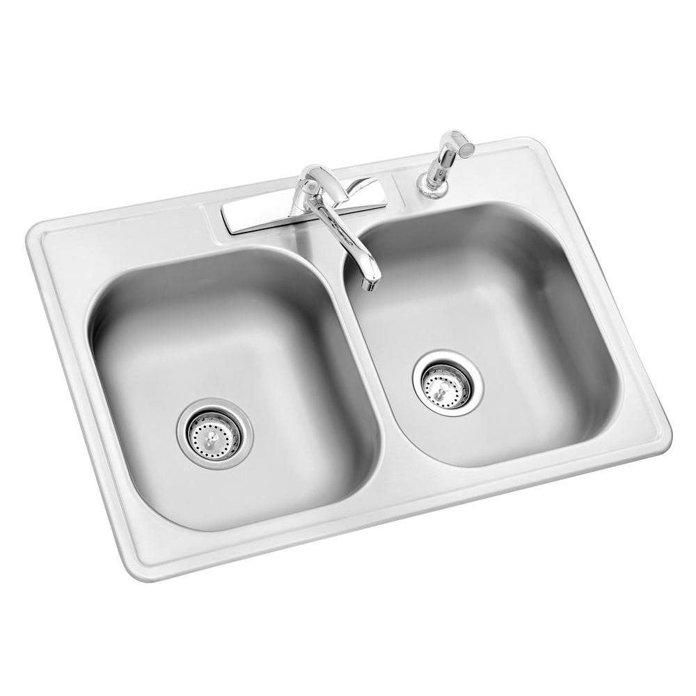 Glacier Bay All In One Drop In Stainless Steel 33 In 4 Hole Double Bowl Kitchen Sink