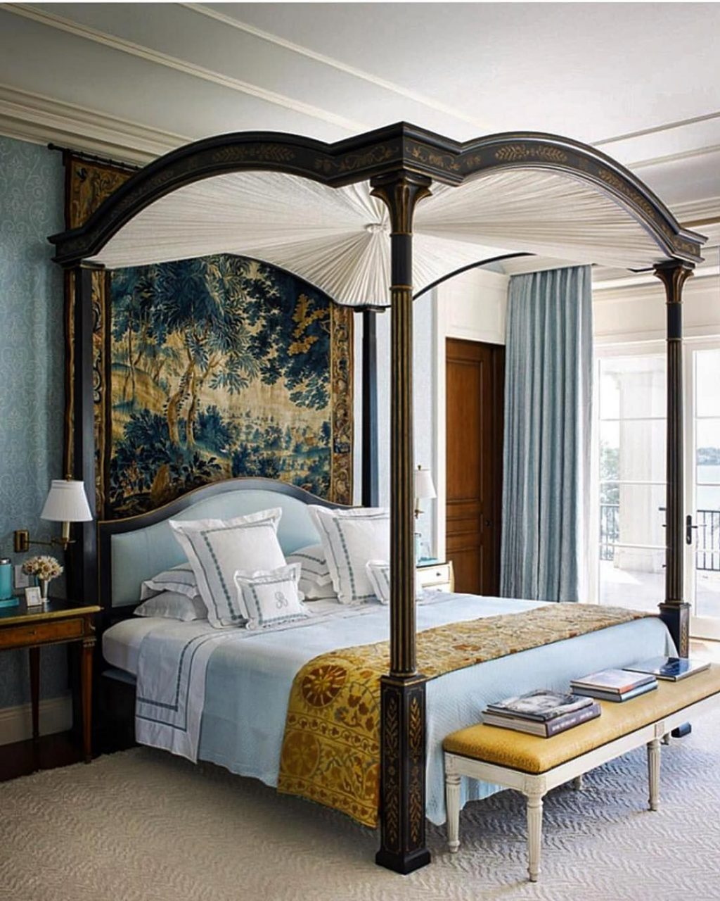 Glorious Master Bedroom With Dark Wooden Canopy Bed The Pale Blue