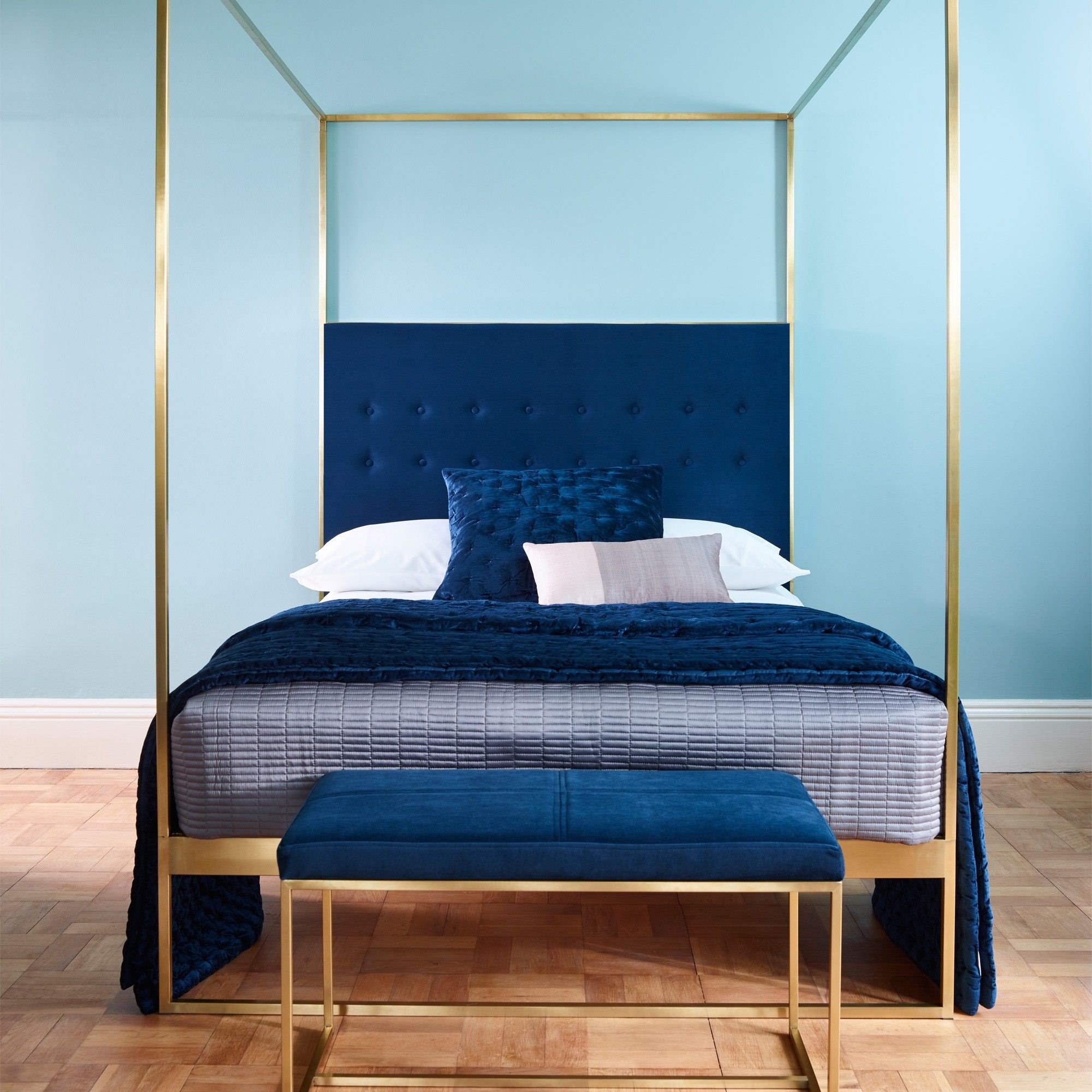 Gold Frame Canopy Bed With Blue Headboard King Home Decor In Layjao