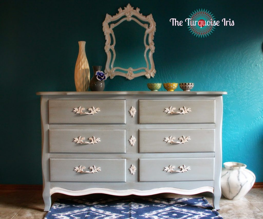 Gray And White Vintage French Provincial Dresser The Turquoise Iris