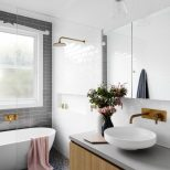 Gray Subway Tiling In A Serene Pink White Bathroom Decorating