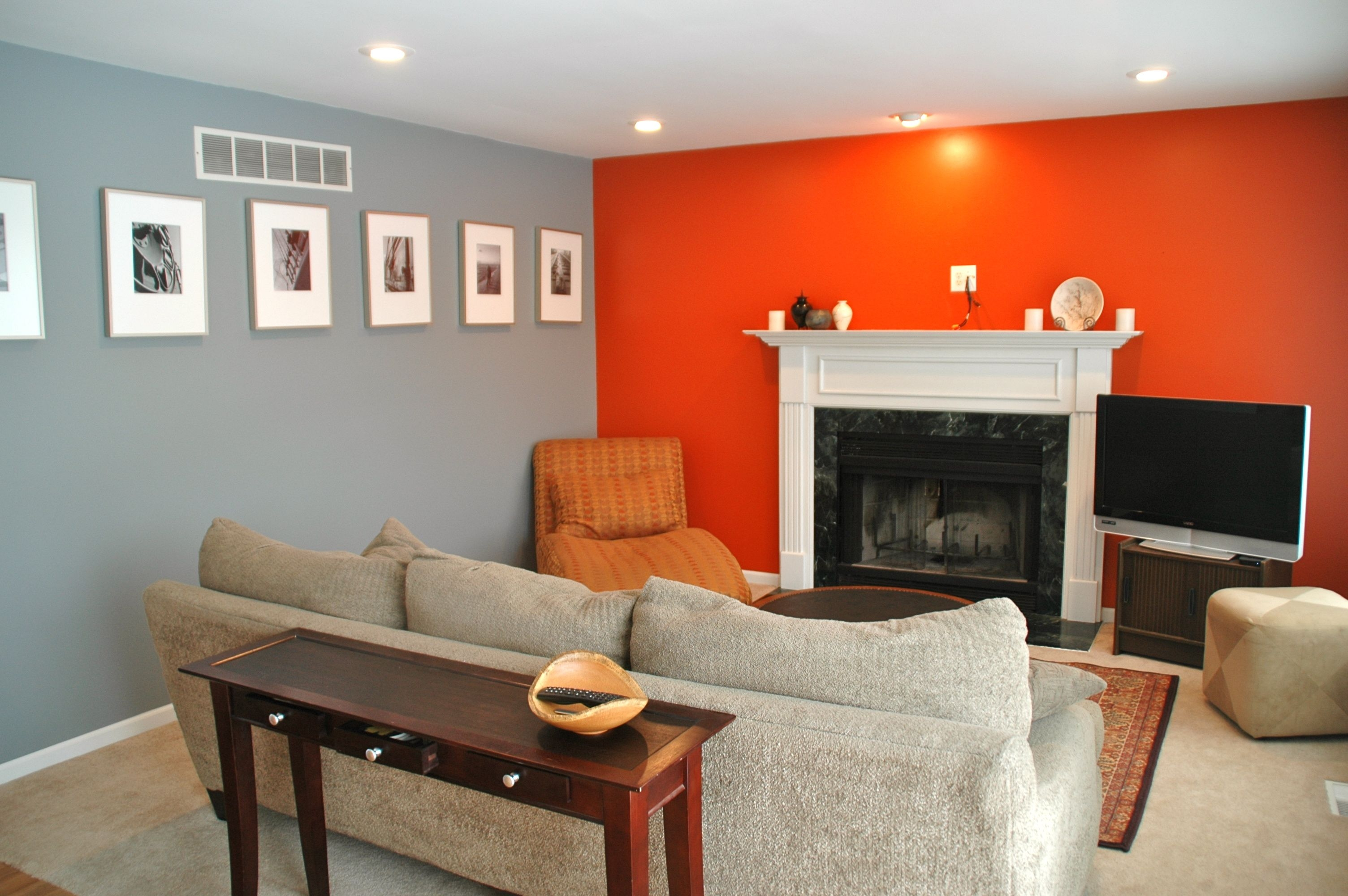 Grey And Orange Living Room Newsgr Pertaining To Ideas Remodel