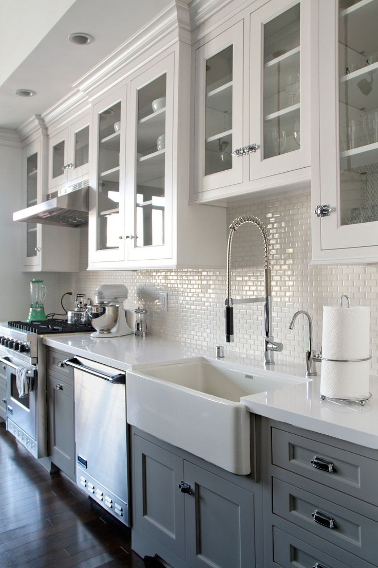 Greywhite Kitchen W Dark Wood Floors Farmhouse Sink Dream Home