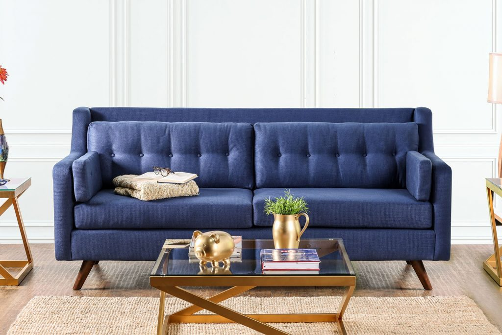 Hallie Blue Linen Fabric Mid Century Modern Style Button Tufted Sofa