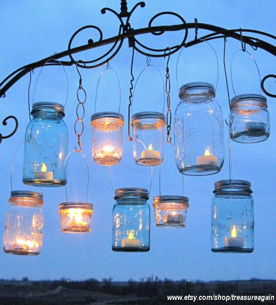 Hanging Mason Jar Lids Outdoor Wedding Candle Holders Diy Mason Jar