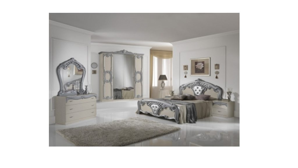 High Gloss Beige Silver Italian Bedroom Furniture Homegenies