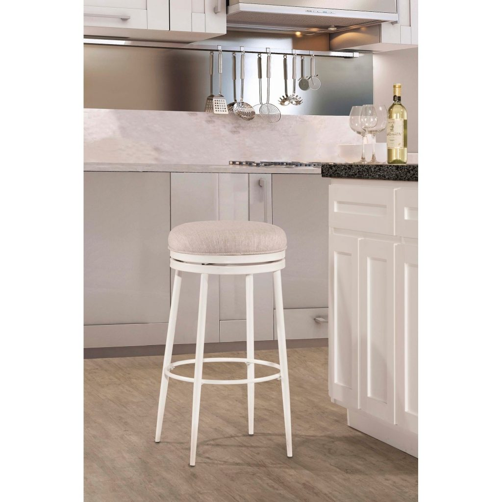 Hillsdale Furniture Aubrie Swivel Backless Counter Stool Off White