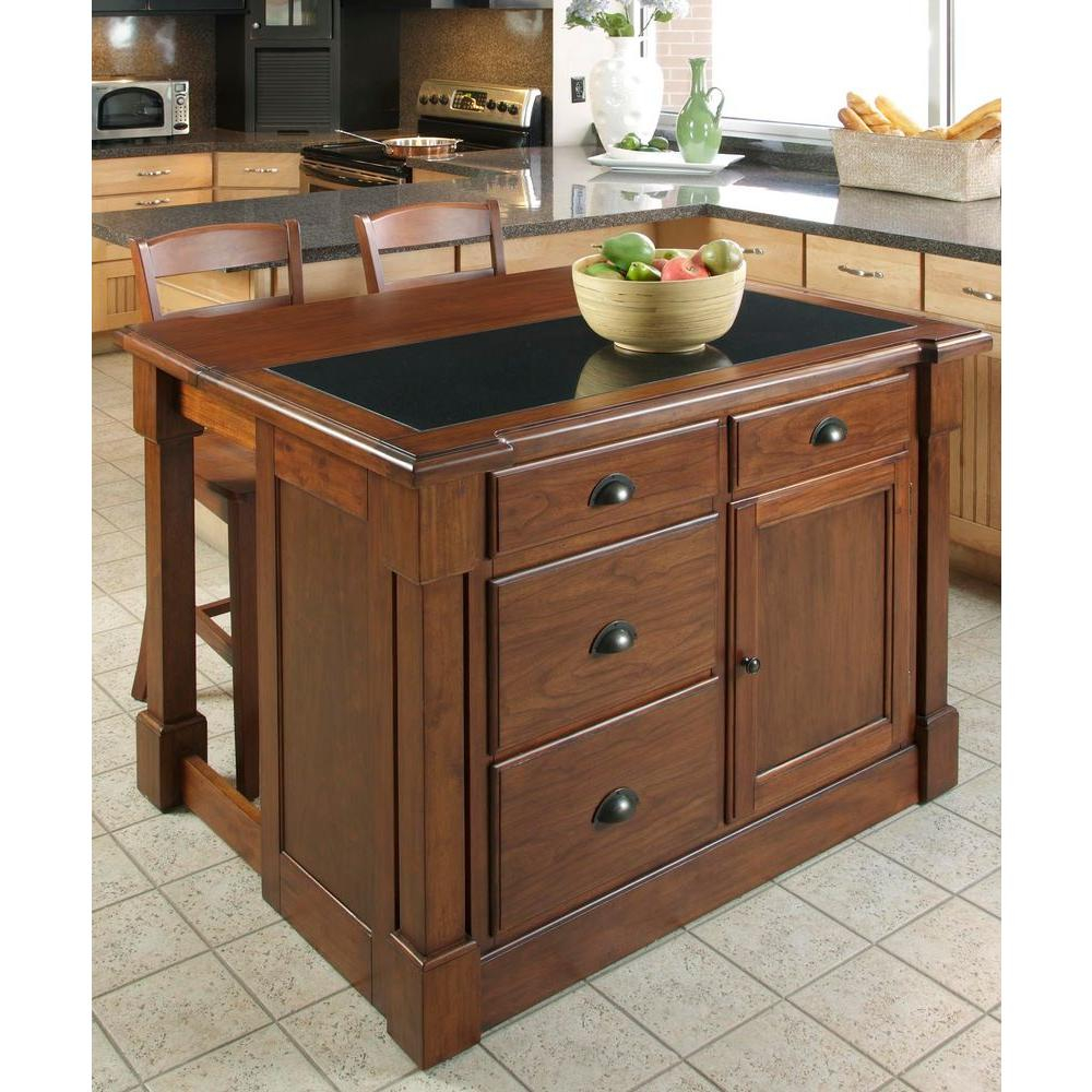 Home Styles Aspen Rustic Cherry Kitchen Island With Granite Top 5520
