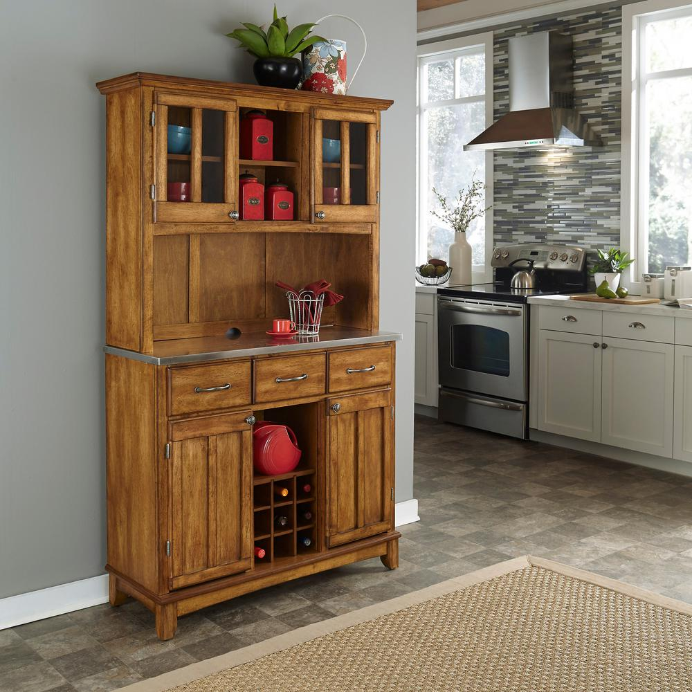 Home Styles Cottage Oak Buffet With Hutch 5100 0066 62 The Home Depot