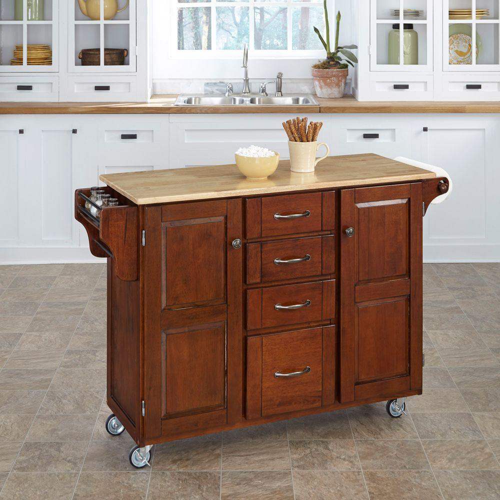 Home Styles Create A Cart Cherry Kitchen Cart With Natural Wood Top