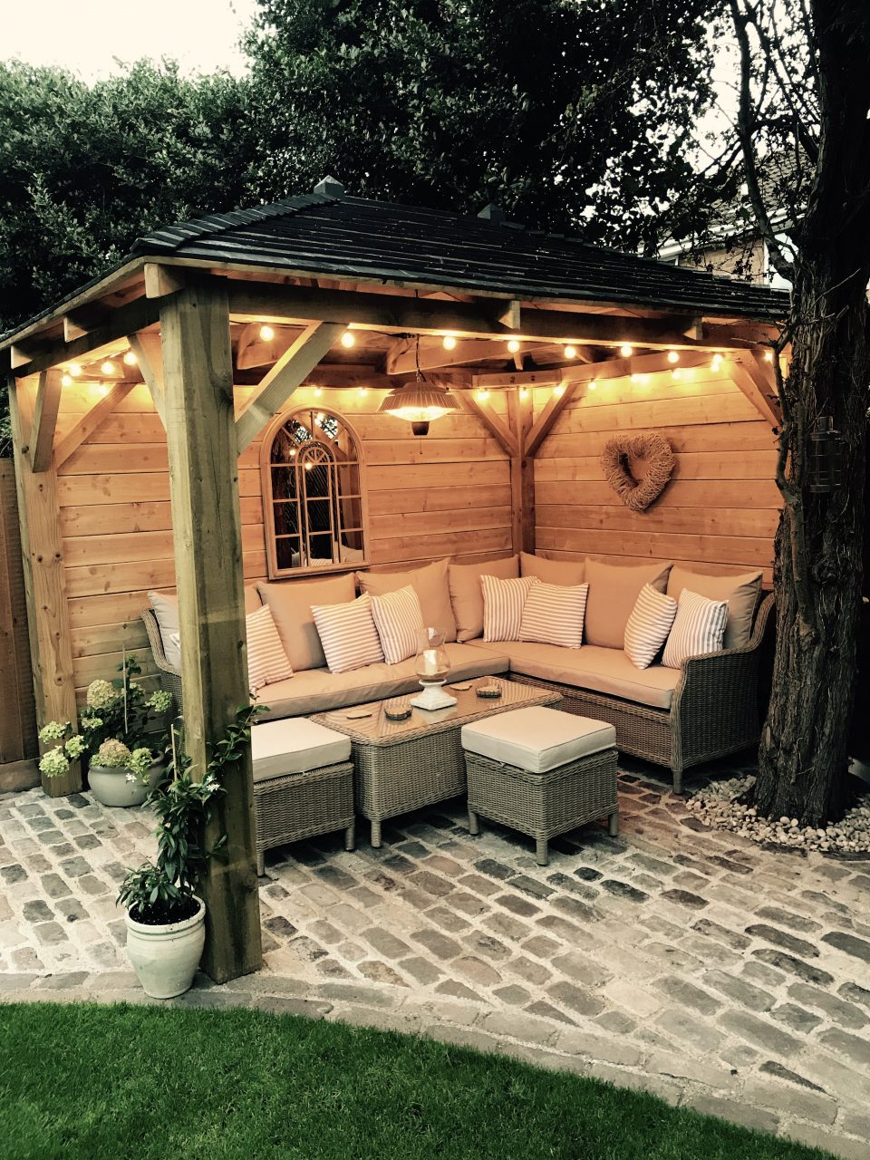 Homemade Wooden Gazebo Cobbles Garden Lights Outdoor Sofa