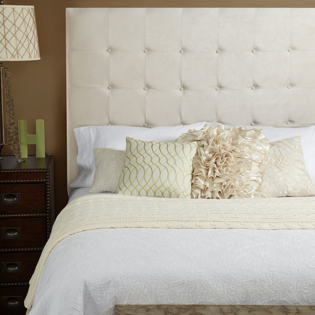 Humble Haute Stratton Velvet Ivory Tall Tufted Upholstered Headboard