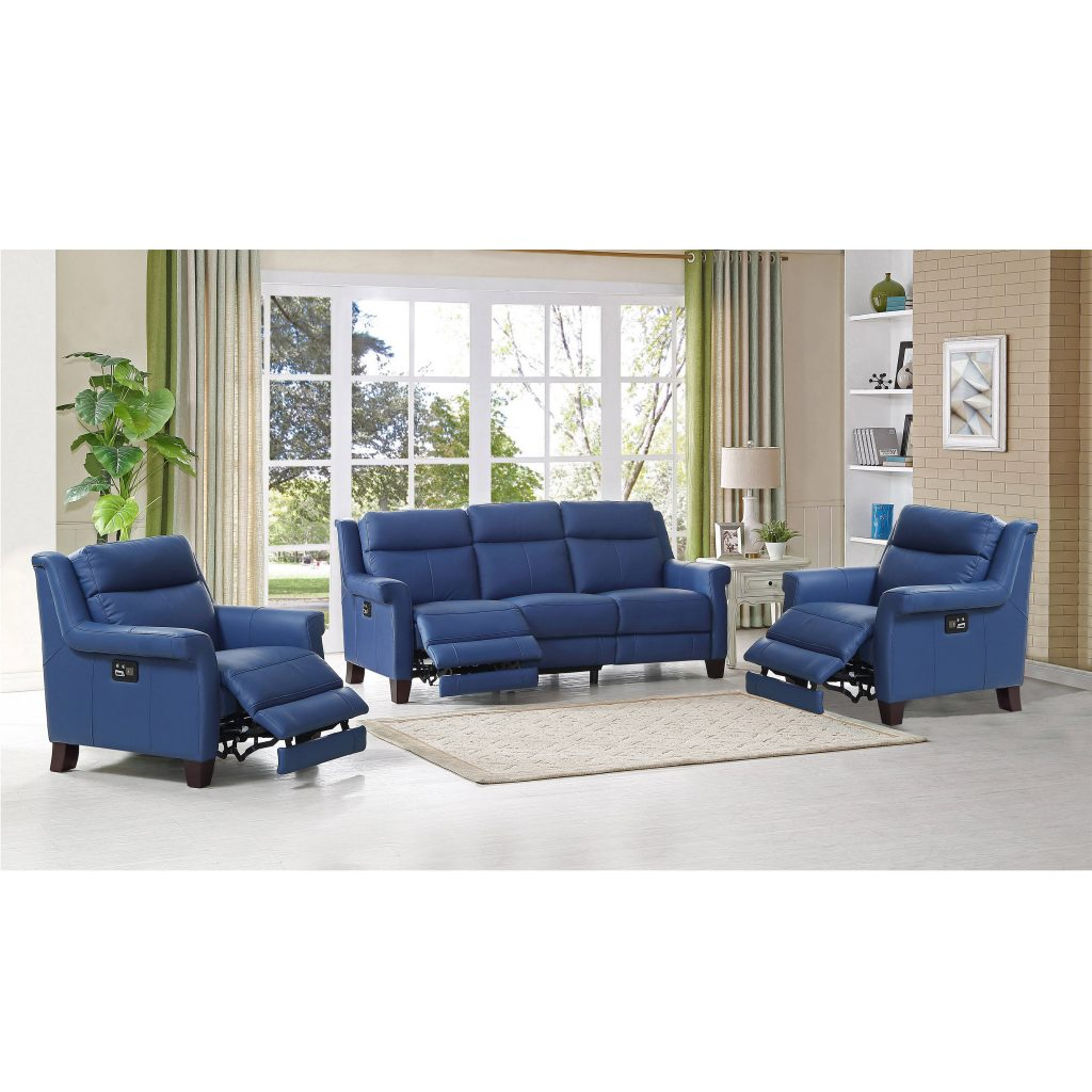 Hydeline Dolce Blue Power Reclining Sofa And Two Recliners Set The