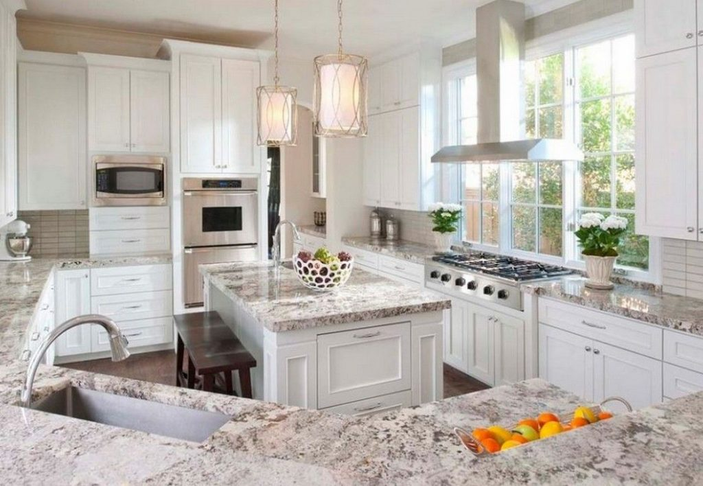 I Love The Contrast Of This Granite Against The White Cabinets