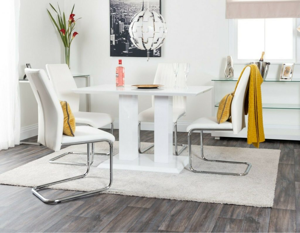 Imperia White High Gloss Dining Table Set And 4 Chrome Leather