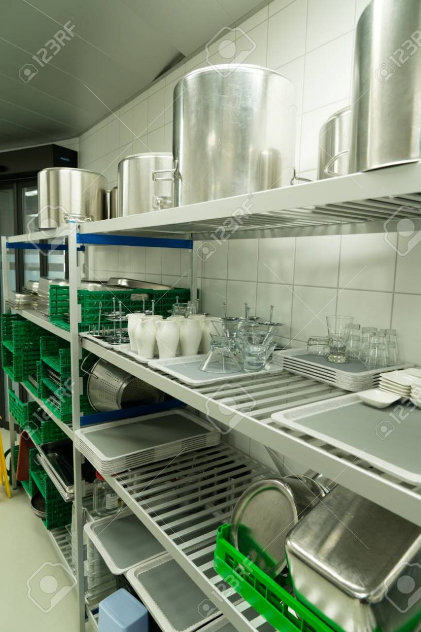 Industrial Restaurant Kitchen With Equipment Needed For Cooking And