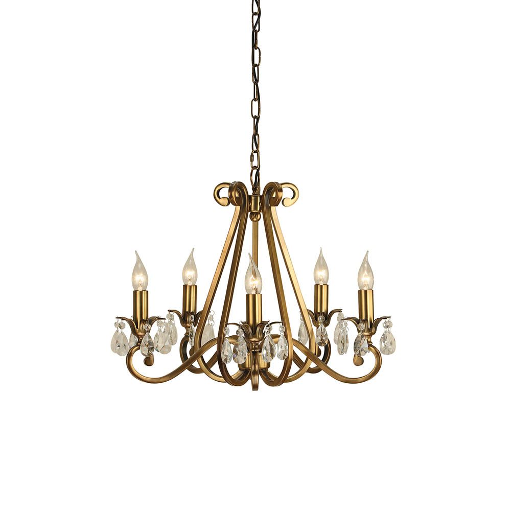 Interiors 1900 Ul1p5b Oksana 5 Light Antique Brass Chandelier