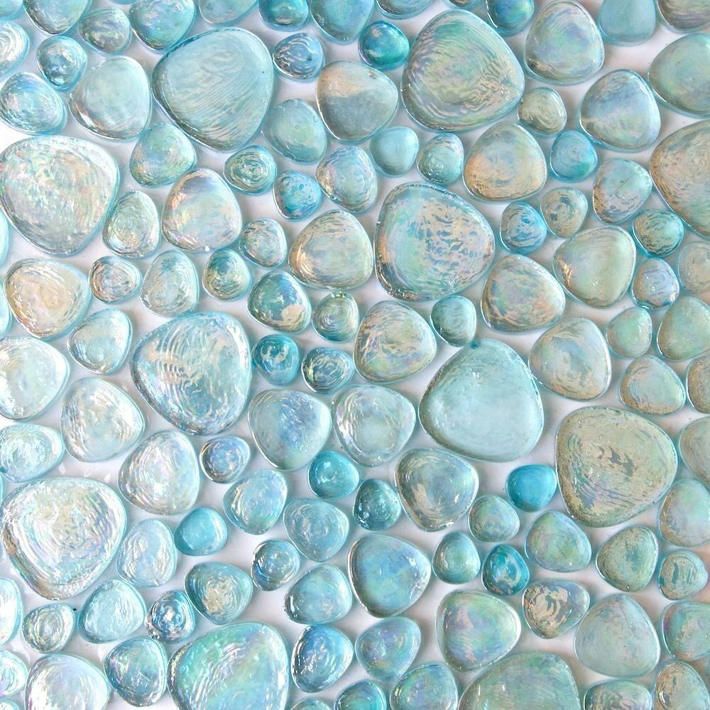 Iridescent Pebble Glass Mosaic Tile Aqua Blue For Wall Floor Ebay