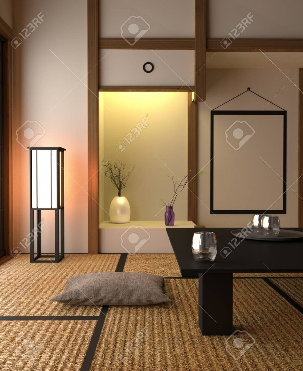 Japanese Style Interior Design Living Room 3d Rendering Stock