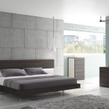 Jm Maia Platform Bedroom Set In Light Grey And Wenge