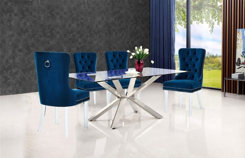 Juno Dining Room Set W Navy Miley Chairs Meridian Furniture