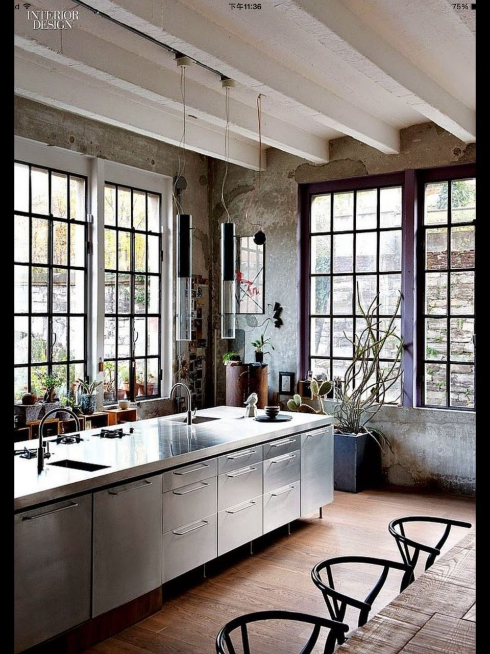 Kitchen In Stainless Steel Home In 2019 Loft Kitchen Industrial