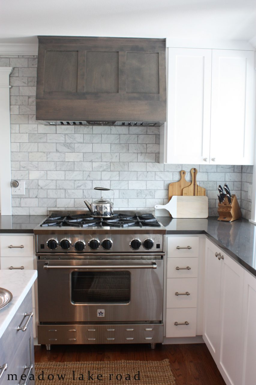 Kitchen Remodel Featuring White Shaker Cabinets Gray Quartz