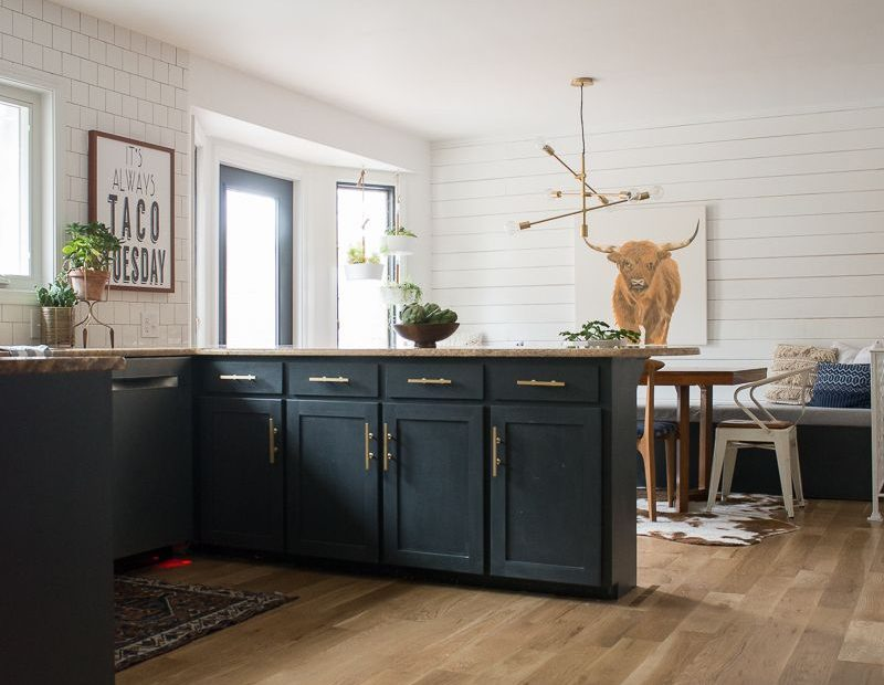 Kitchen Reveal With Dark Cabinets And Open Shelving Kitchen