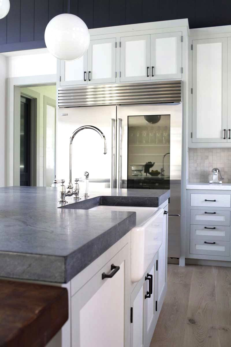 Kitchens With White Counters With Light Gray Soapstone Countertops