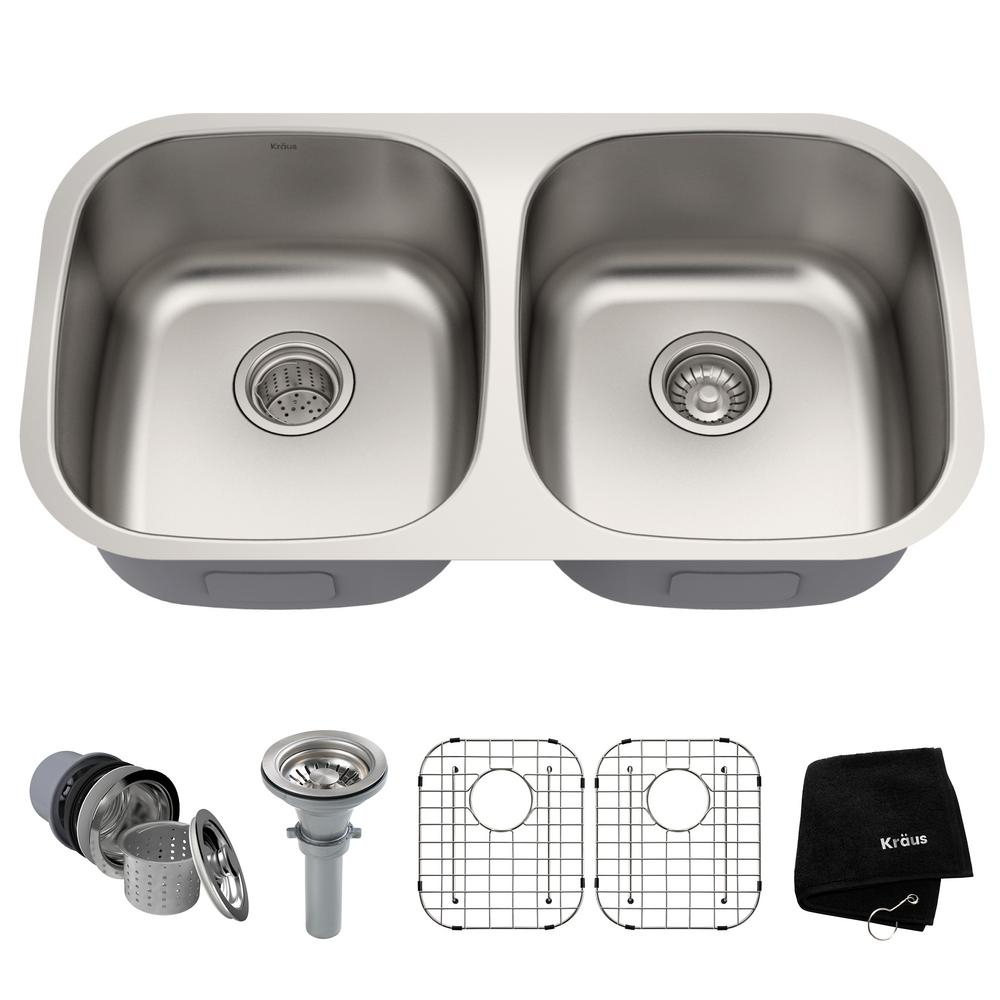 Kraus Premier Undermount Stainless Steel 32 In 5050 Double Bowl Kitchen Sink