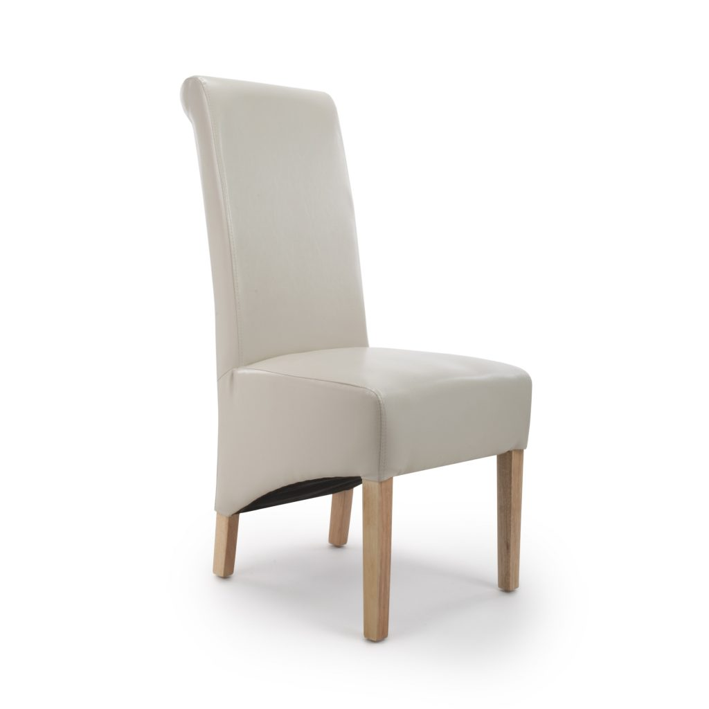 Krista Ivory Cream Leather Dining Chairs Shankar