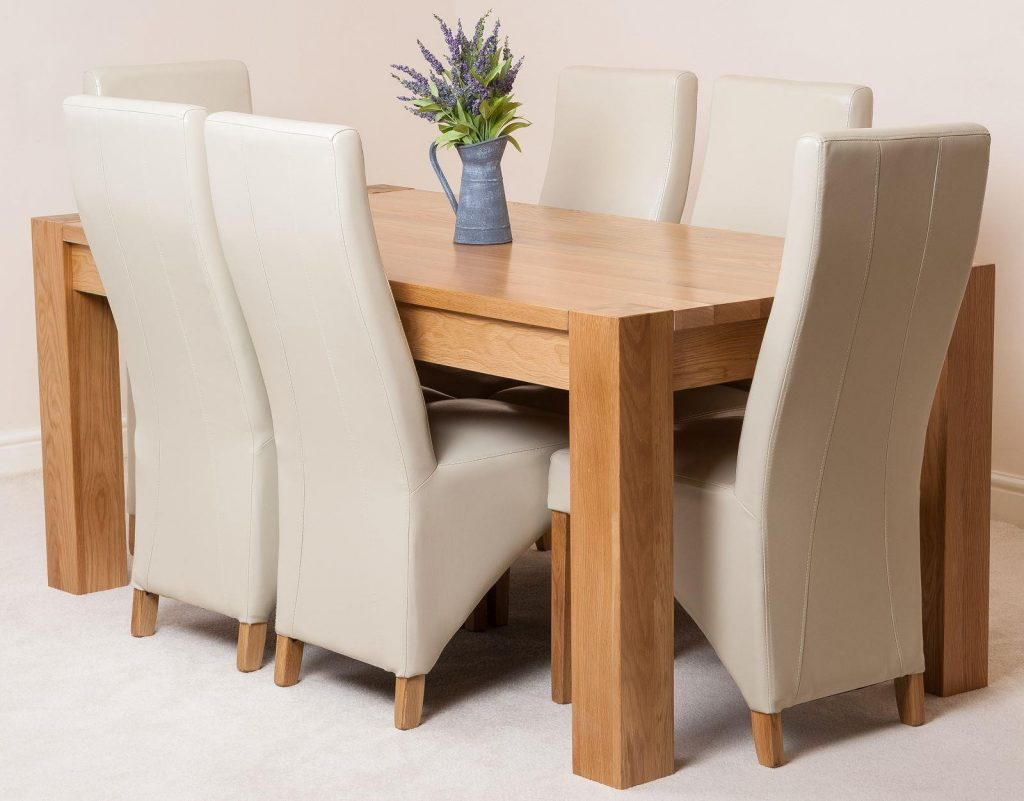 Kuba Oak Dining Set 180cm 8 Ivory Chairs