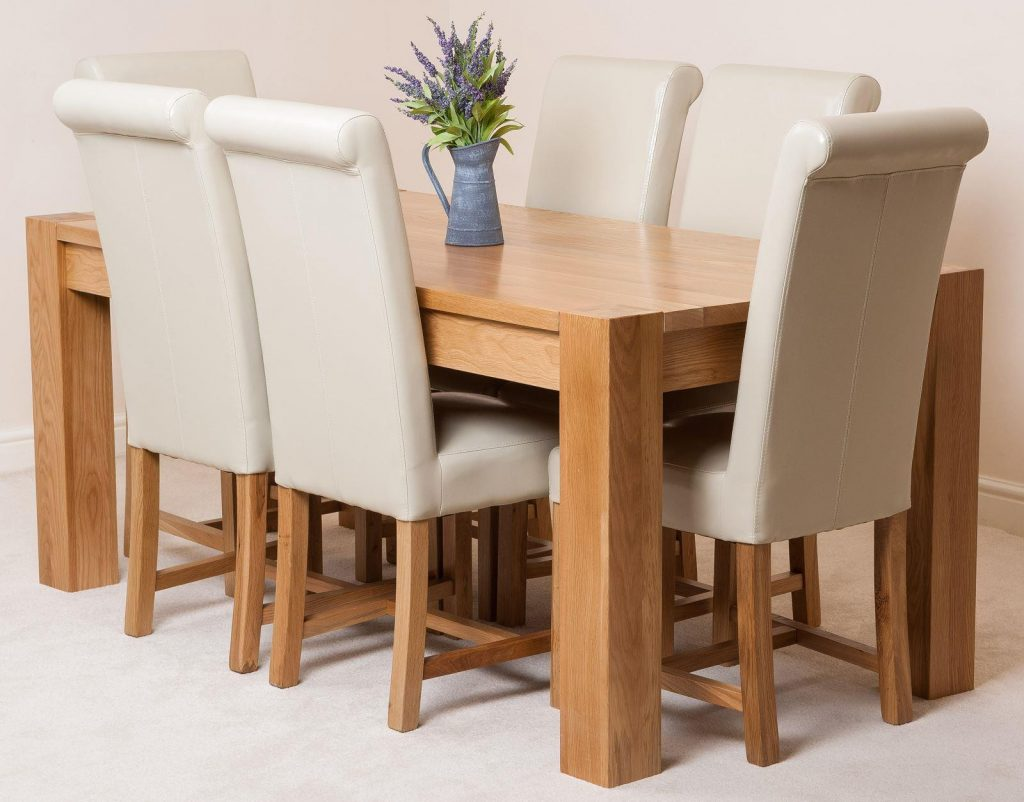 Kuba Solid Oak 180cm Dining Table With 6 Washington Dining Chairs
