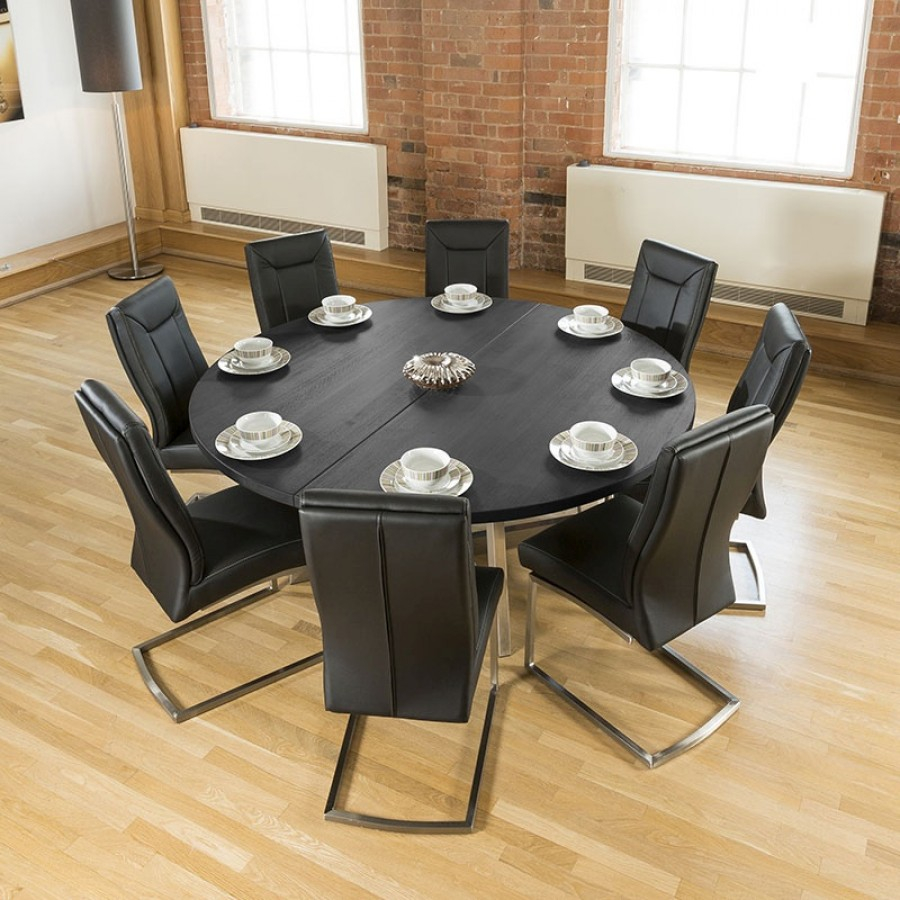 Large Round 18m Black Oak Dining Table 8 Deep Vintage Black