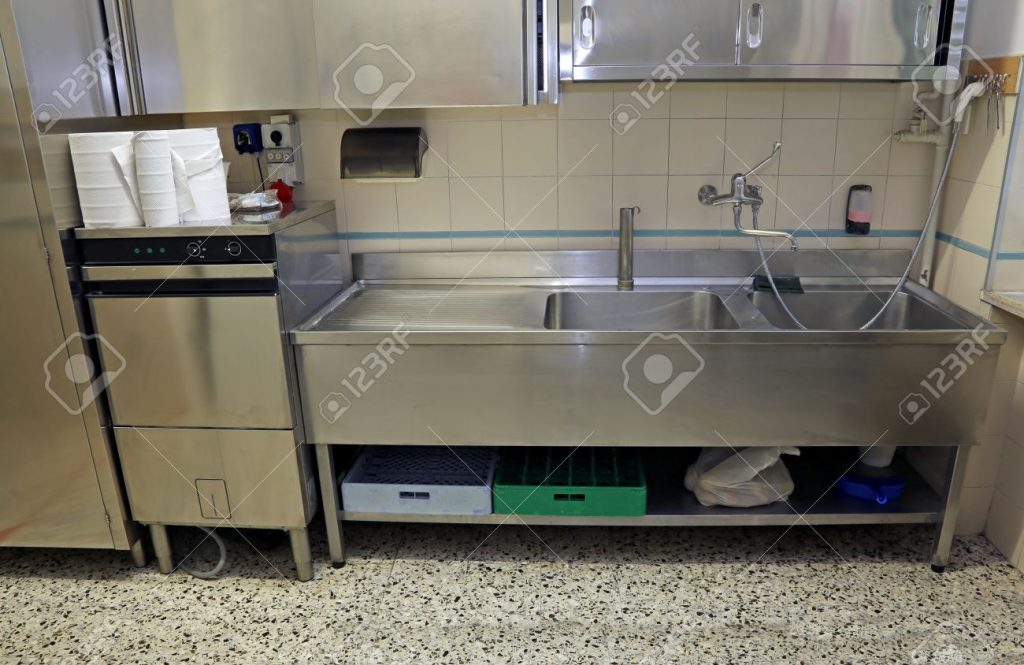 Large Stainless Steel Sink Of Industrial Kitchen For Preparing