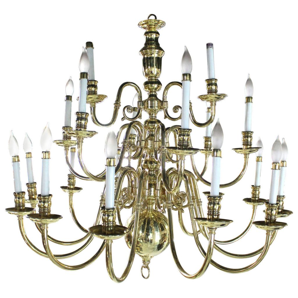 Large Vintage Brass Candelabra Chandelier For Sale At 1stdibs