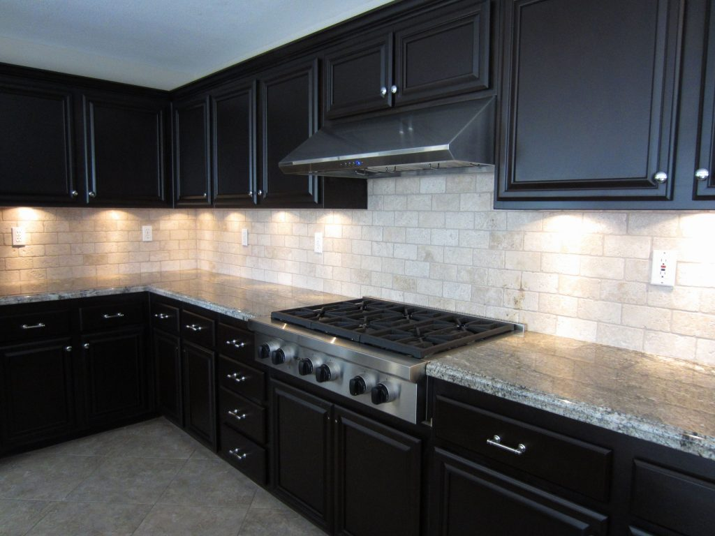 Likable Dark Kitchen Cabinets Backsplash Ideas Brown White Design