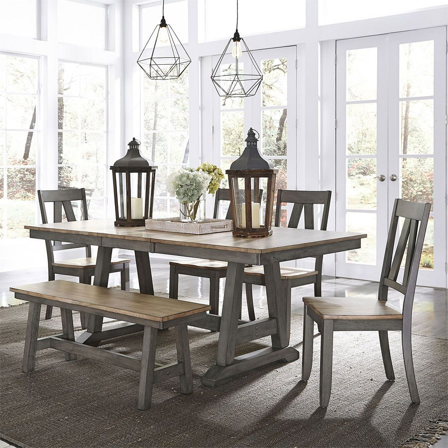 Lindsey Farm Trestle Dining Room Set W Bench Liberty Furniture