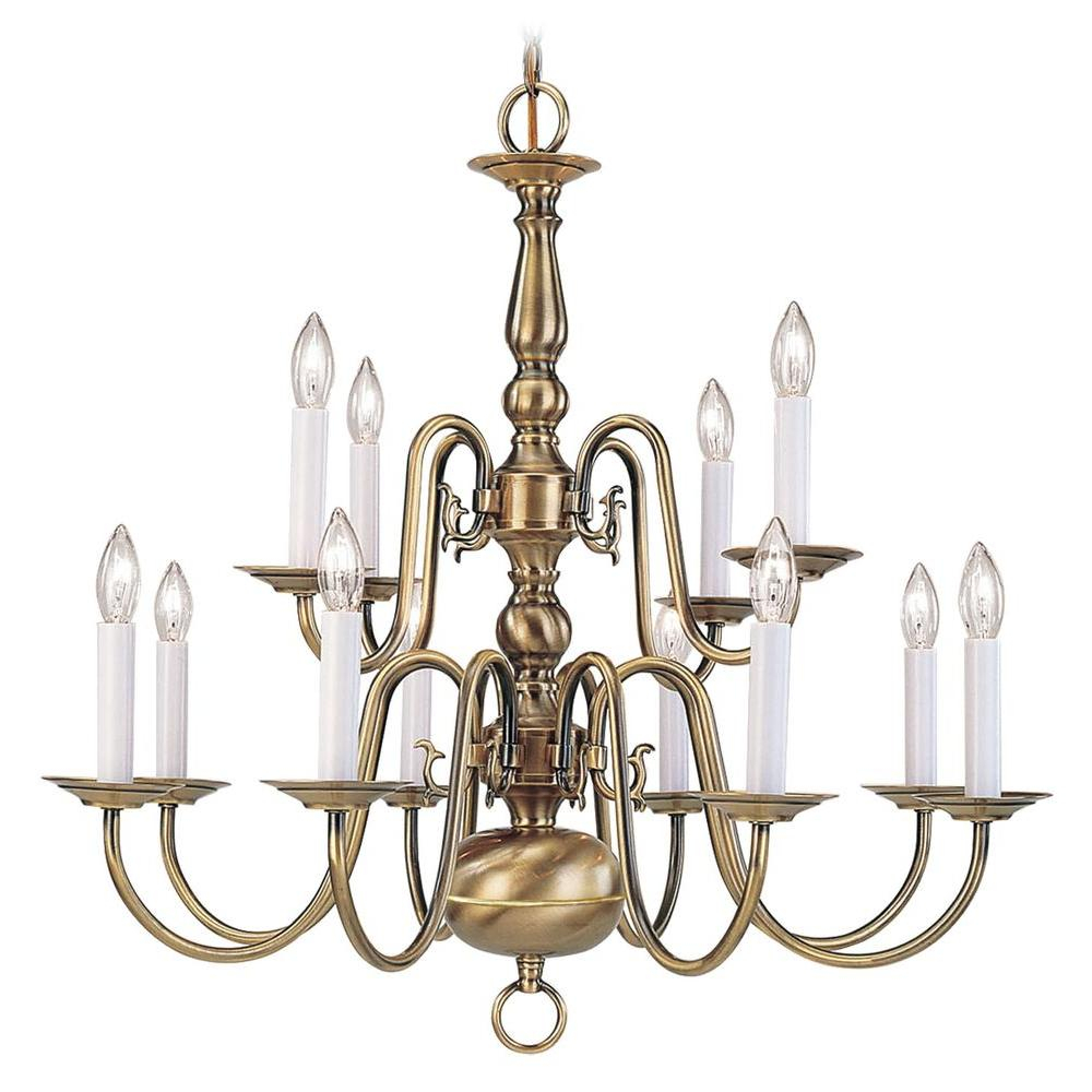 Livex Lighting Providence 12 Light Antique Brass Chandelier 5012 01