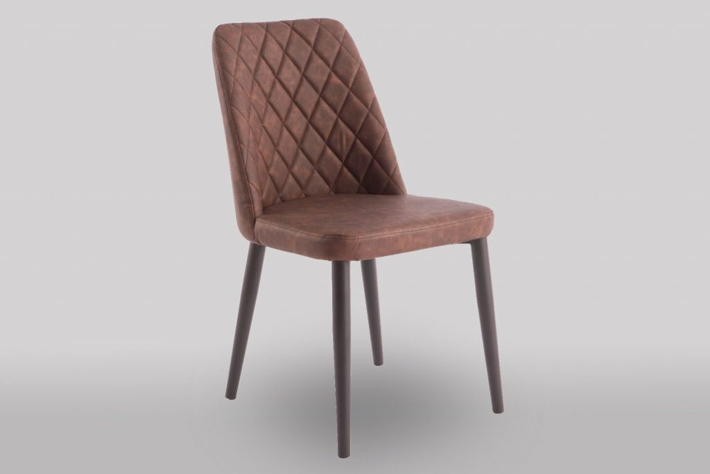 Livia Brown Faux Leather Dining Chair Benhomes