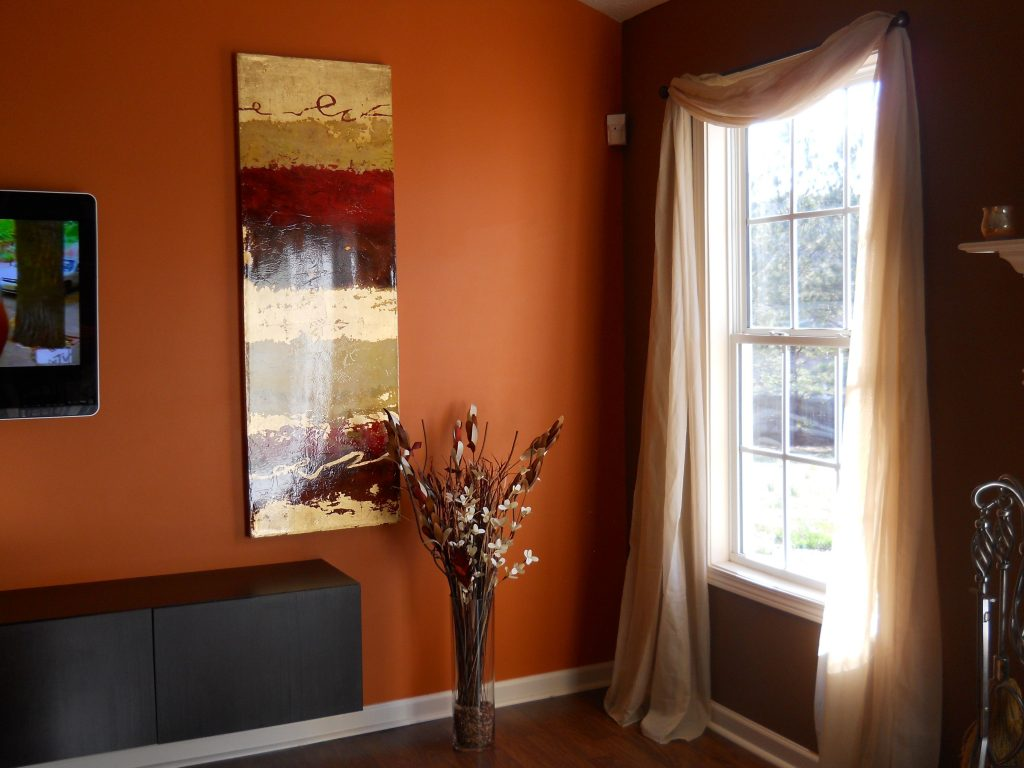 Living Room Chocolate Brown Walls With Copper Orange Accent Wall