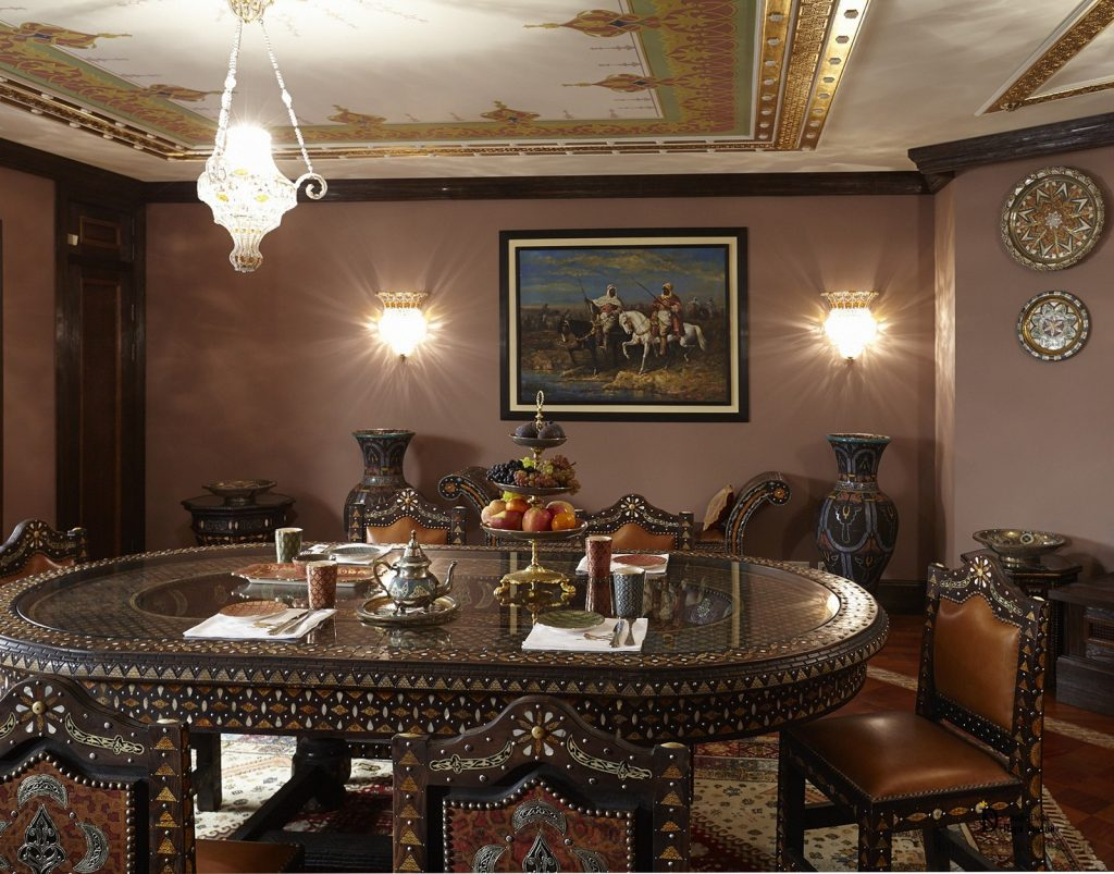 Living Room In The Moroccan Style With Ornamental Painting Studio